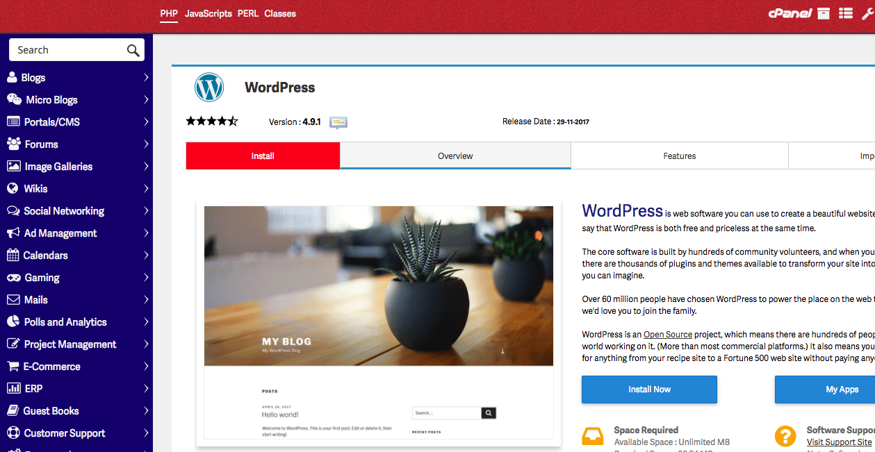 You will find WordPress installation options in your hosts library of software.